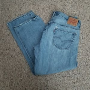 Mens Levis Distressed Loose Straight Jeans Size 36